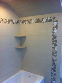 Beadboard Bathrooms - shower using porcelain tile and bubble glass accents contemporary bathroom philadelphia