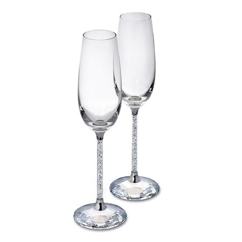 with swarovski crystals pair of swarovski filled stem chagne flutes