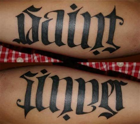 saint and sinner tattoo designs 40 cool ambigram ideas hative