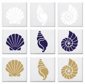 Seashell design tile decals stickers nautical look set of 12 vinyl