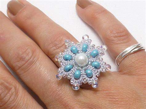 5 Rings For Your Pretty Fingers by Pretty Beaded Tatting Snowflake Ring Tatting