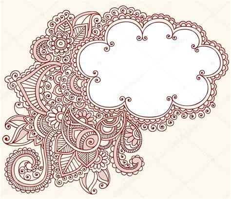 doodle flower border henna paisley flower doodle cloud frame vector design