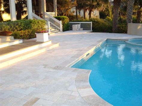 Classic ivory travertine pavers modern pool tampa by
