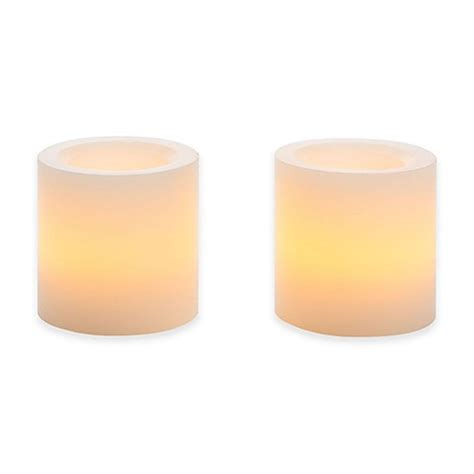 bed bath and beyond candles flameless mini wax pillar candle set of 2 bed bath