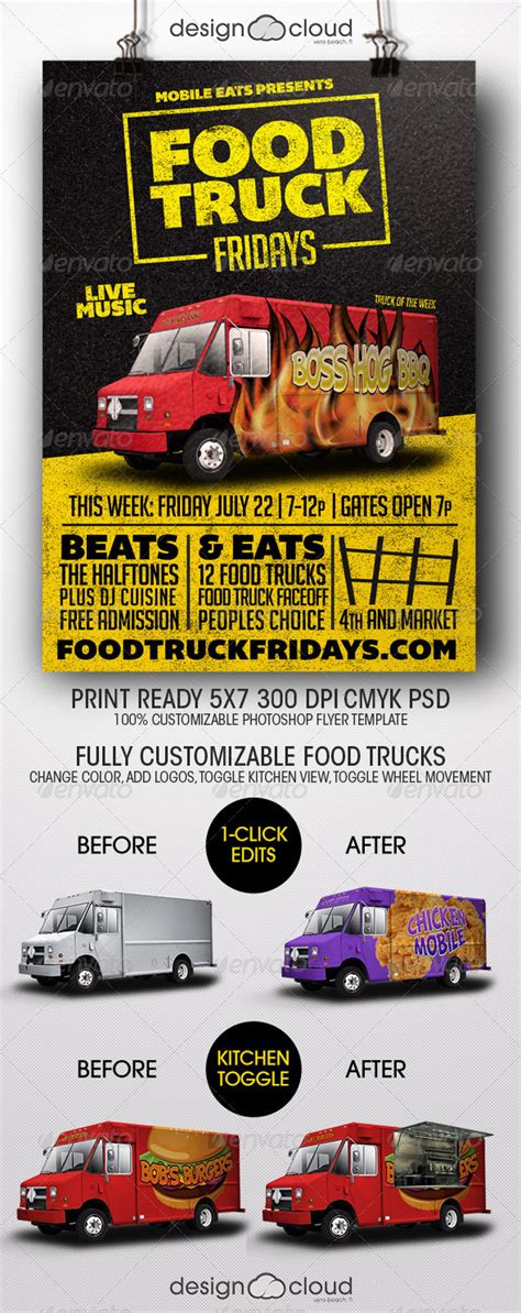 Food Truck Fridays Flyer Template By Design Cloud Graphicriver Food Truck Flyer Template