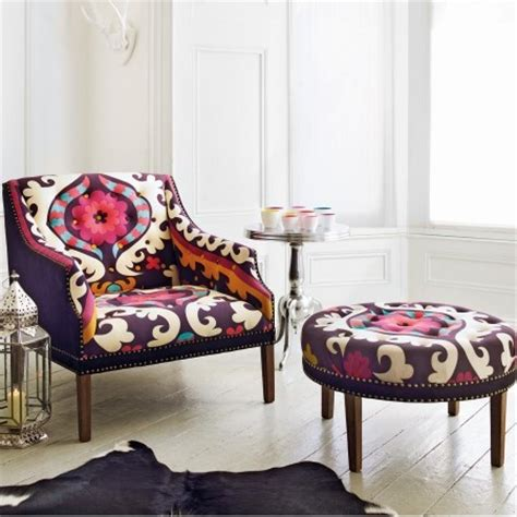 Suzani Armchair suzani print bath button back armchair contemporary