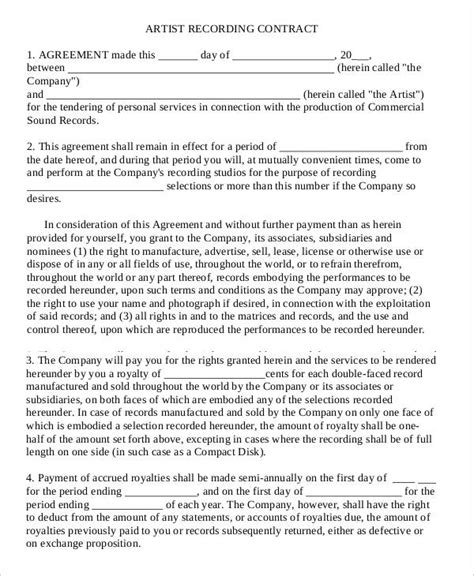 co production agreement template recording contract template record label agreements