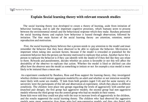 Learning Theory Essay by Cognitive Learning Theory Research Paper