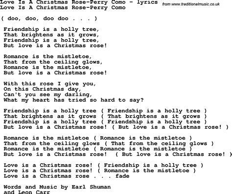 rose tattoo lyrics perry como love song lyrics for love is a christmas rose perry como