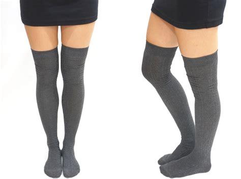 knitted thigh high socks knit thigh high socks tights grey on luulla