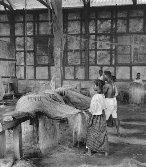 filipino rope factory combing  fibers  manila hemp