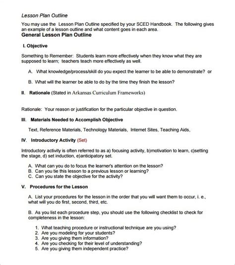lesson plan outline template 12 free sle exle