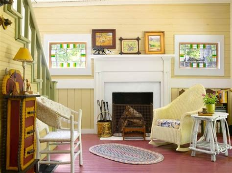 cottage style living rooms with brick fireplace
