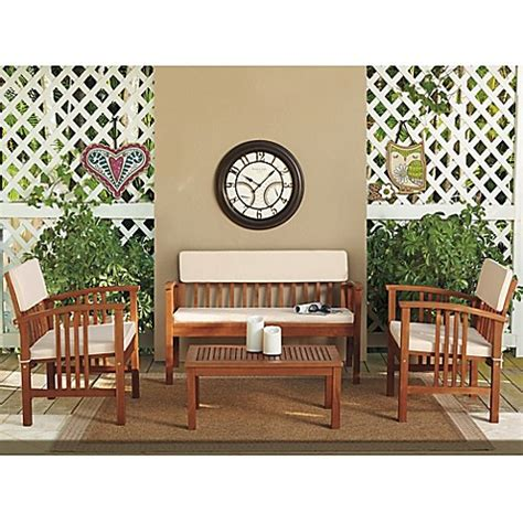bed bath and beyond chat 4 piece westerly acacia wood deep seating chat set bed