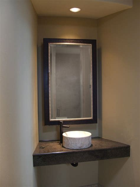 Mirrors For Powder Rooms - custom bathroom mirrors mediterranean powder room other metro by mo s gallery amp fine framing