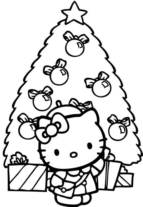 hello kitty christmas coloring pages online hello kitty and tree christmas coloring page christmas