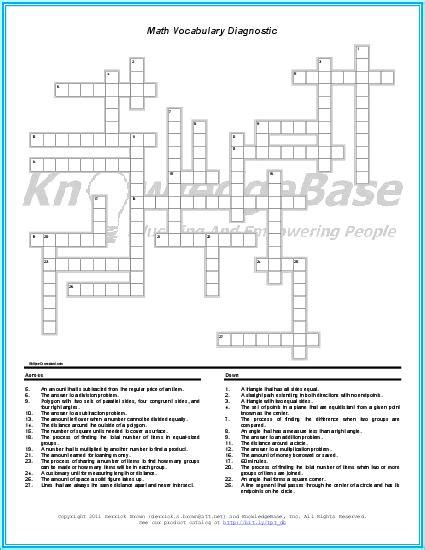 math crossword puzzle language diagnostic teacherlingo com