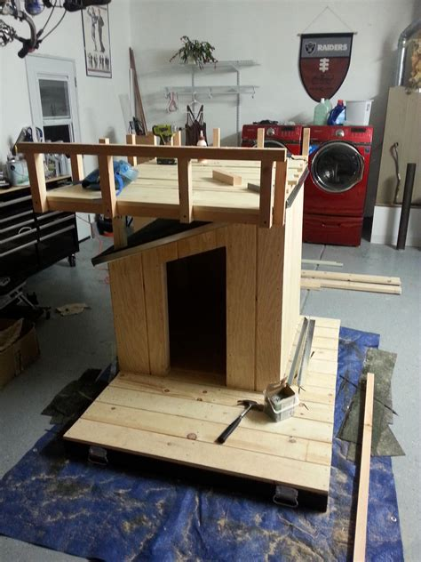 dog house with deck on top made our 2 rescued dogs a firefighter themed dog house original roof on with flashing