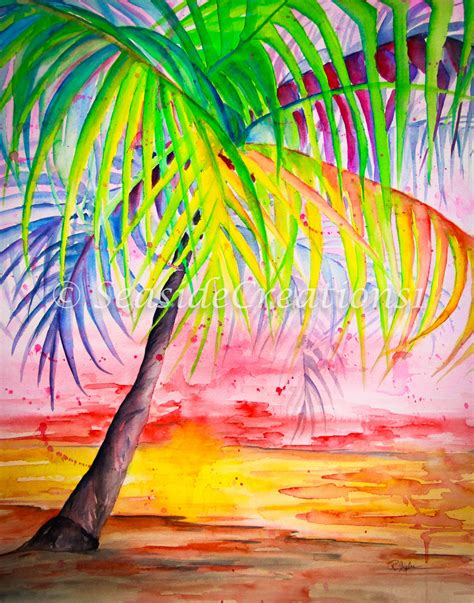 colorful palm trees tropical palm tree watercolor print colorful palm