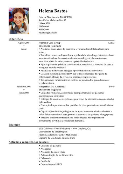 Modelo Curriculum Funcionario Modelo De Curriculum Enfermeira Registada Exemplo De Cv Enfermeira Licenciada Livecareer