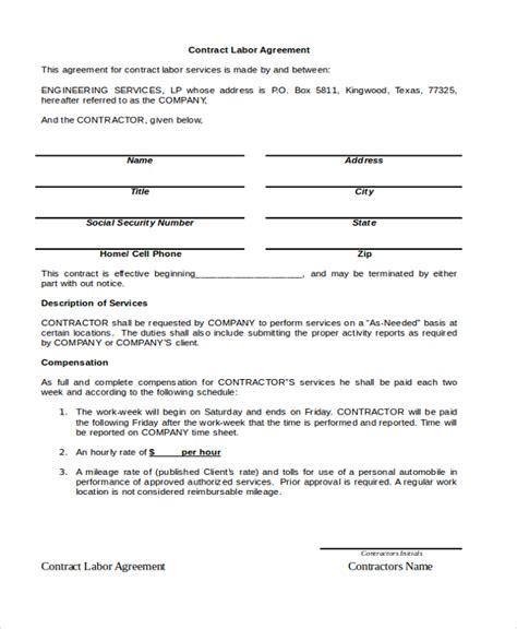labour contract template contract labor agreement exle templates resume