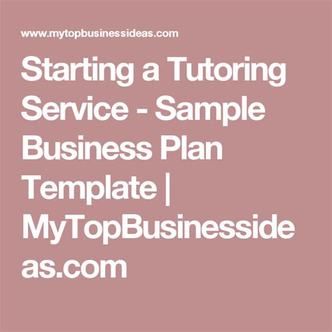 tutoring business plan template starting a tutoring service sle business plan
