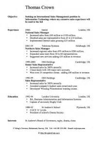 Sle Of C V Or Resume by Resume In For Sales Manager