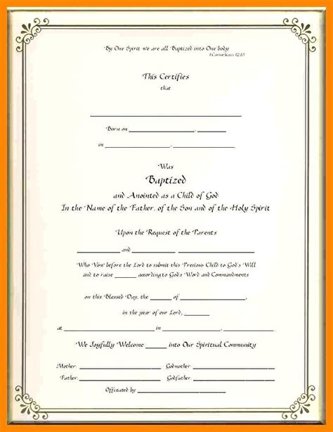 Template Baptism Certificate Template Word Free Baptism Certificate Template Word