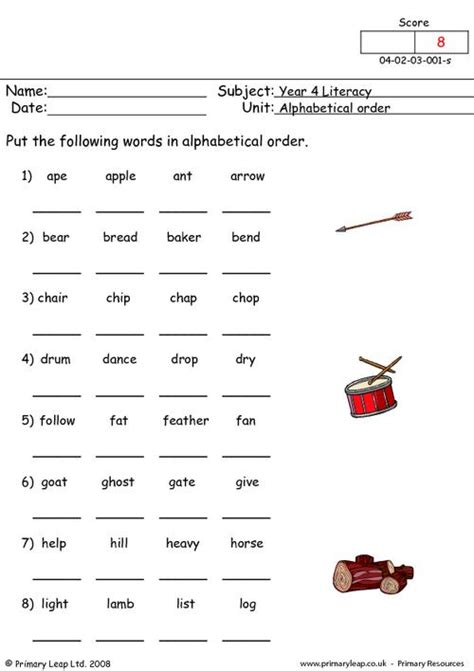 alphabet ordering worksheets alphabetical order 1 primaryleap co uk