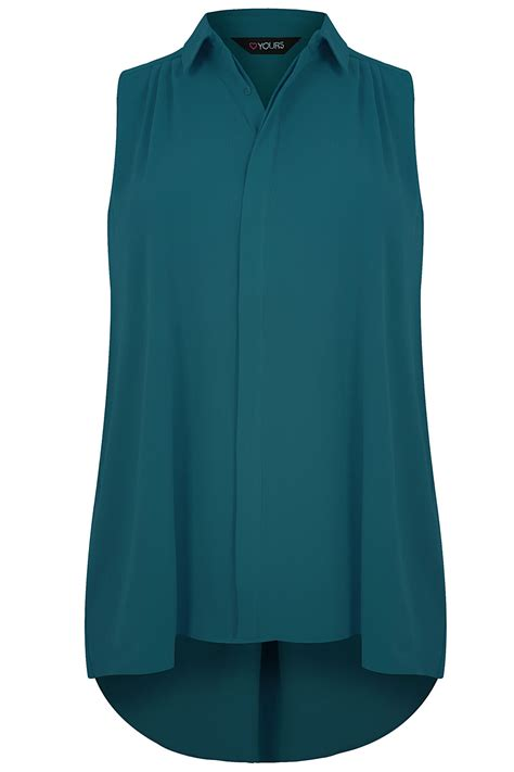 Elpeka Blouse Kode 2060 1 teal sleeveless crepe button up shirt with pleating detail