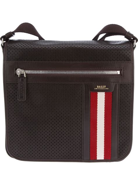 bags for bally oslo perforated shoulder bag in brown for lyst