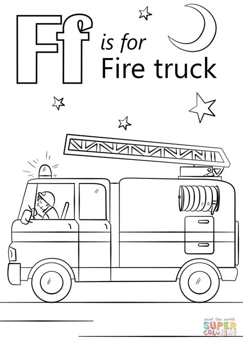 letter f is for fire truck coloring page free printable