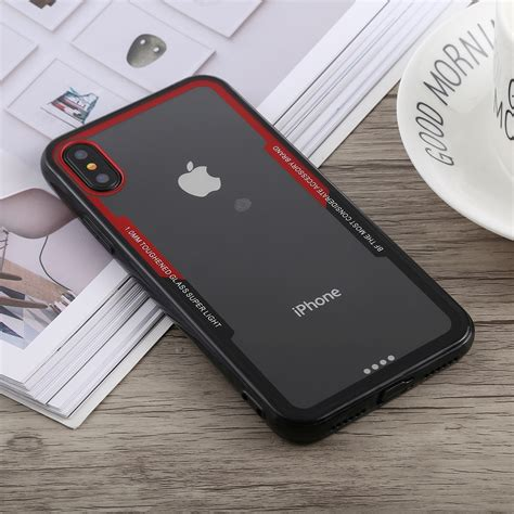 acrylic tpu shockproof case  iphone xs max black red