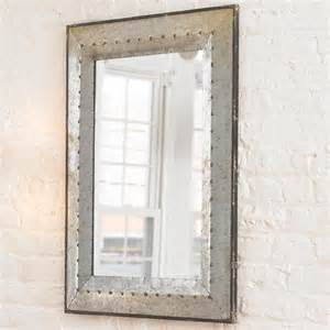 industrial bathroom mirrors metal industrial rivet mirror l shades by shades of