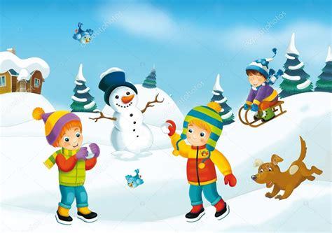 imagenes de invierno para jovenes dibujos animados de invierno con los ni 241 os foto de stock