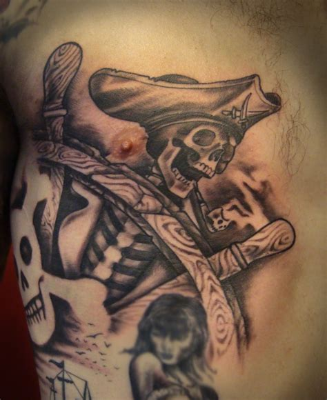 pirate skeleton at captain wheel tattoo tattooimages biz