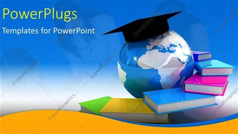 Powerpoint Template Globe Books With Students In Background Depicting Global Education 13687 Powerpoint Templates For Students