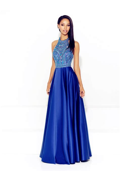 blue beaded gown a line halter low back royal blue satin beaded prom dress