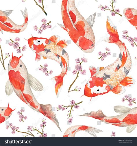 japanese pattern watercolor watercolor oriental pattern rainbow carps seamless stock