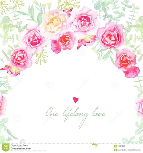 Shabby Chic Gift Card Template by Garden Roses Wedding Vector Card Stock Vector