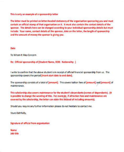 Sponsor Letter Uk Student Visa Sle Sponsorship Letter 9 Exles In Word Pdf