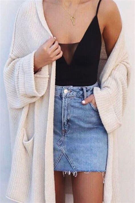 Jempsuit Cardi denim skirt cozy cardi style denim