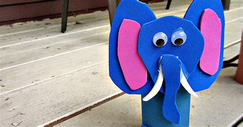 Papercraft Elephant - elephant zoo animal toilet paper roll crafts for