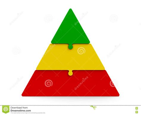 color pyramid three color puzzle pyramid stock illustration