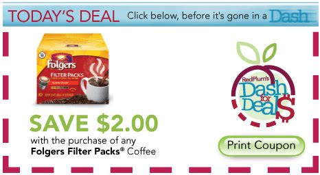 today's red plum dash for deals coupon: $2.00 off folgers