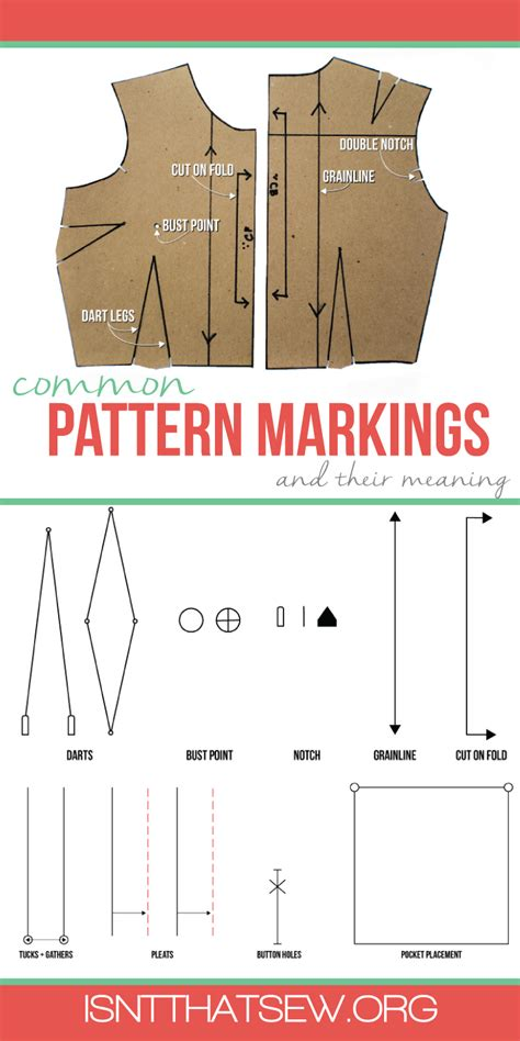 sewing pattern markings and symbols common pattern markings