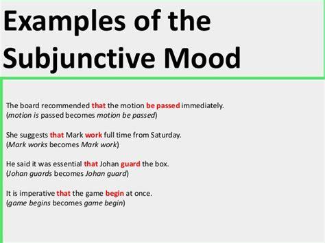exle of mood subjunctive mood