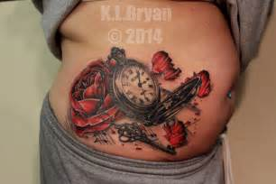 pocket watch and rose tattoo sitting 2 complete by