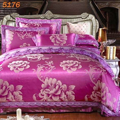 Bedcover Tencel 240x260 purple silk bedding set home textiles tencel duvet cover corner bed sheets pillow cases
