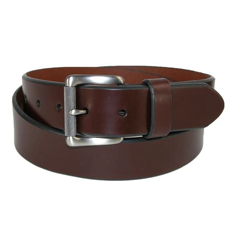 mens leather beveled edge bridle belt with roller buckle